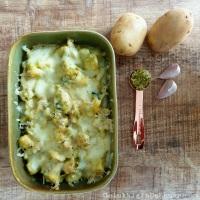 Aardappel ovenschotel met kip in pesto-mascarpone